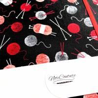 """Notizbuch Projektbuch """"Wool&Needles"""" Blanko ähnlich A5 17,5 x 23 cm Hardcover stoffbezogen Strickzubehör Stricke Bild 7"""
