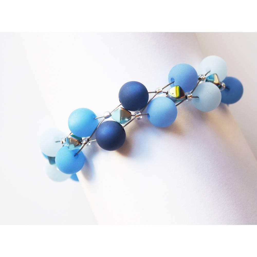 Polarisarmband blau mit böhmischen Glasperlen Armband mit Polarisperlen handmade Bild 1