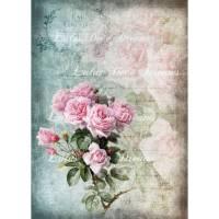 Bügelbild  ~ Rose/Rosen ~ ShabbyChic ~ Vintage Art ~ Transferfolie ~No.54