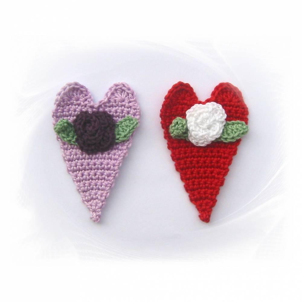 Herz mit Rose Applikation, gehäkeltes Herz Aufnäher Bild 1