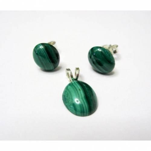 Echte Malachit, Ohrstecker & Anhänger Silber 925, Geschenk für Frauen, Schmuckset Grün