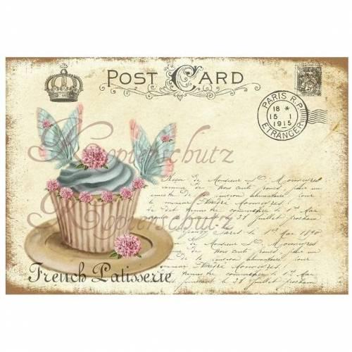 1 Bügelbild ~ CUPCAKE ~ Schmetterling ~ Vintage/Shabby~ No.2