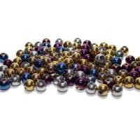 50 Glasperlen metallic, 6 oder 8 mm, Farbmix