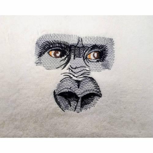 Gästehandtuch bestickt Gorilla Guckst Du gestickt