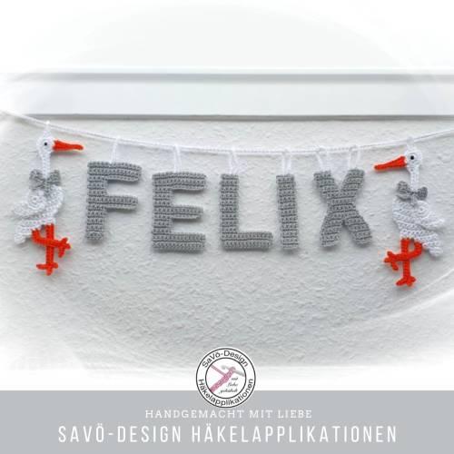 Storch Girlande mit Namen, Willkommen Baby, personalisiertes Geschenk zur Geburt