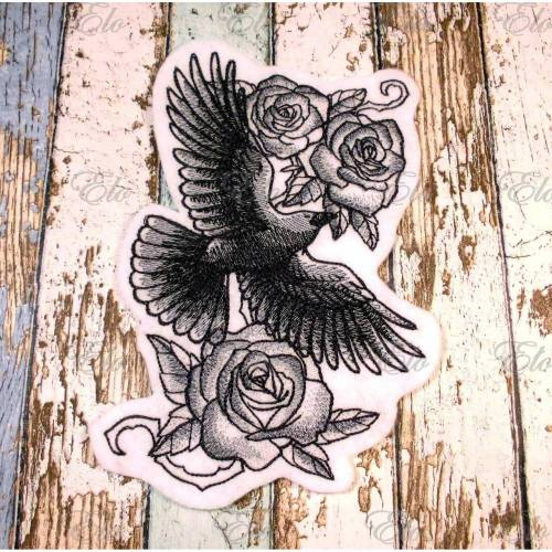 Applikation gestickt Corvus Raven - Rabe mit Rosen Stickapplikation, Bird Aufnäher gestickt, Gothic Patch, Sternenbild, Krähe, Embroidery