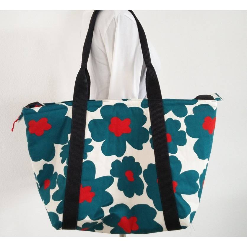 Große Tasche mit wunderschönen Blumen in petrol Bild 1