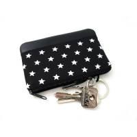 Kleines Schlüsseletui, Schlüsseltäschchen, Minitäschchen, Geldbörse, Schwarz, Weiss, Sterne Bild 1