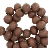 100 Holzperlen Holz Perlen rund 6 mm dark nature brown dunkelbraun Bild 1