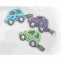 Auto Schlüsselanhänger, buntes gehäkeltes Auto als Anhänger Bild 1