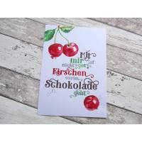 """Poster, Druck, Kunstdruck A4 """"Kirschen essen"""" aus der Manufaktur Karla Bild 1"""