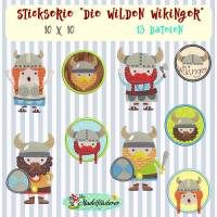 """Digitale Stickserie Die wilden Wikinger 10x10 cm (4x4"""") Stickrahmen"""