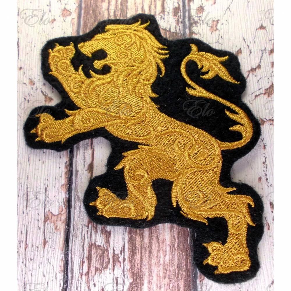 Aufnäher goldener Löwe gestickt Applikation Bild 1