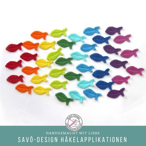 Mini Fische, gehäkelte Streuteile Farbwahl, kleine Fisch Aufnäher Deko, Häkelapplikationen, Streudeko