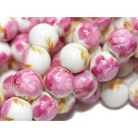10 x Porzellanperle rosa Rose, ca. 10 mm