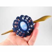 Makramee-Haarspange mit Holzstab und Opalglas Bild 1