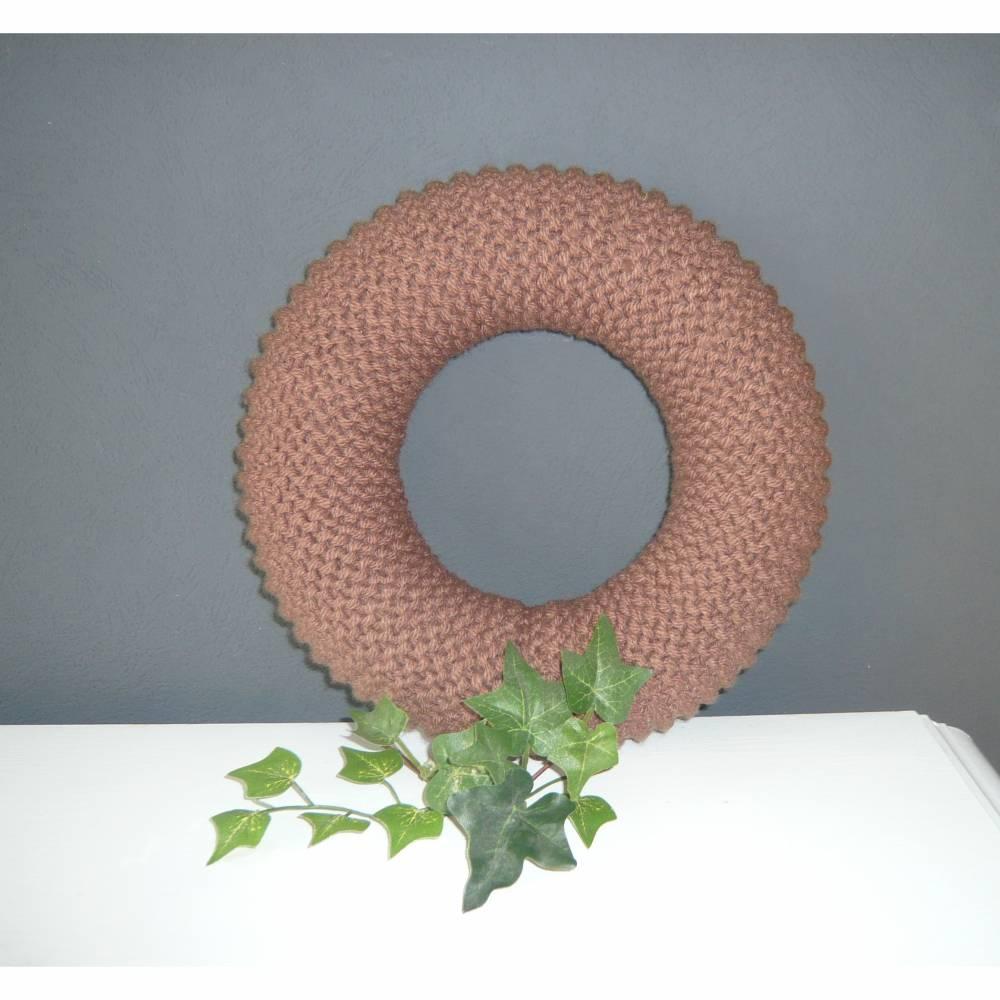 Strickkranz  26/31 cm Durchmesser in Wunschfarbe, gestrickter Kranz zum selber dekorieren Bild 1