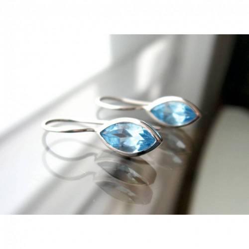 Blautopas facetiert Ohrringe aus Silber 925, Silber Ohrringe mit Edelstein, Geschenk, Geburtstag
