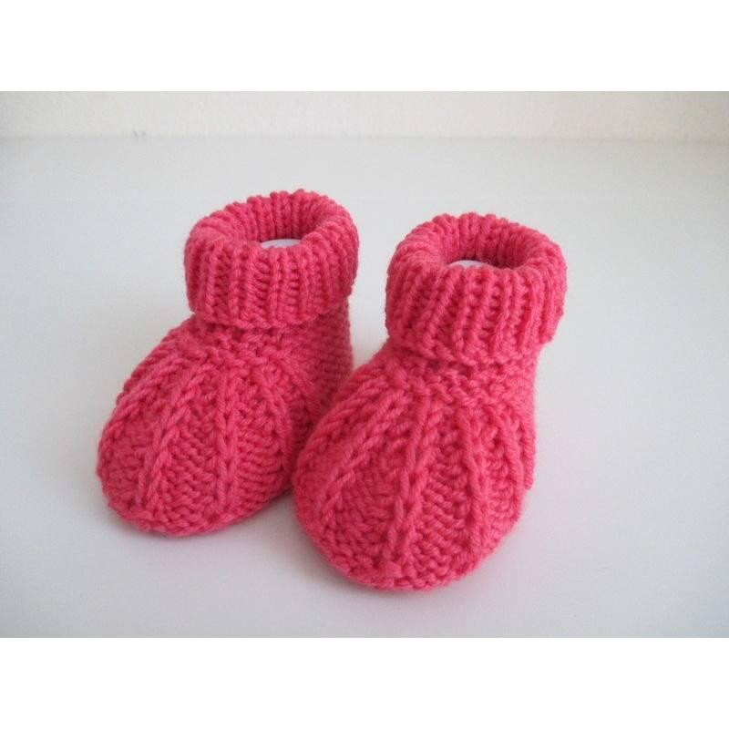 pinke Babyschuhe 3-6 Monate aus Wolle gestrickt Bild 1