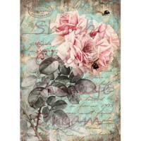Bügelbild  ~ Rose/Rosen ~ ShabbyChic ~ Vintage Art ~ Transferfolie ~No.50 Bild 1