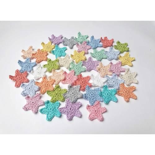 Stern Häkelapplikation Aufnäher in Wunschfarbe, Sterne