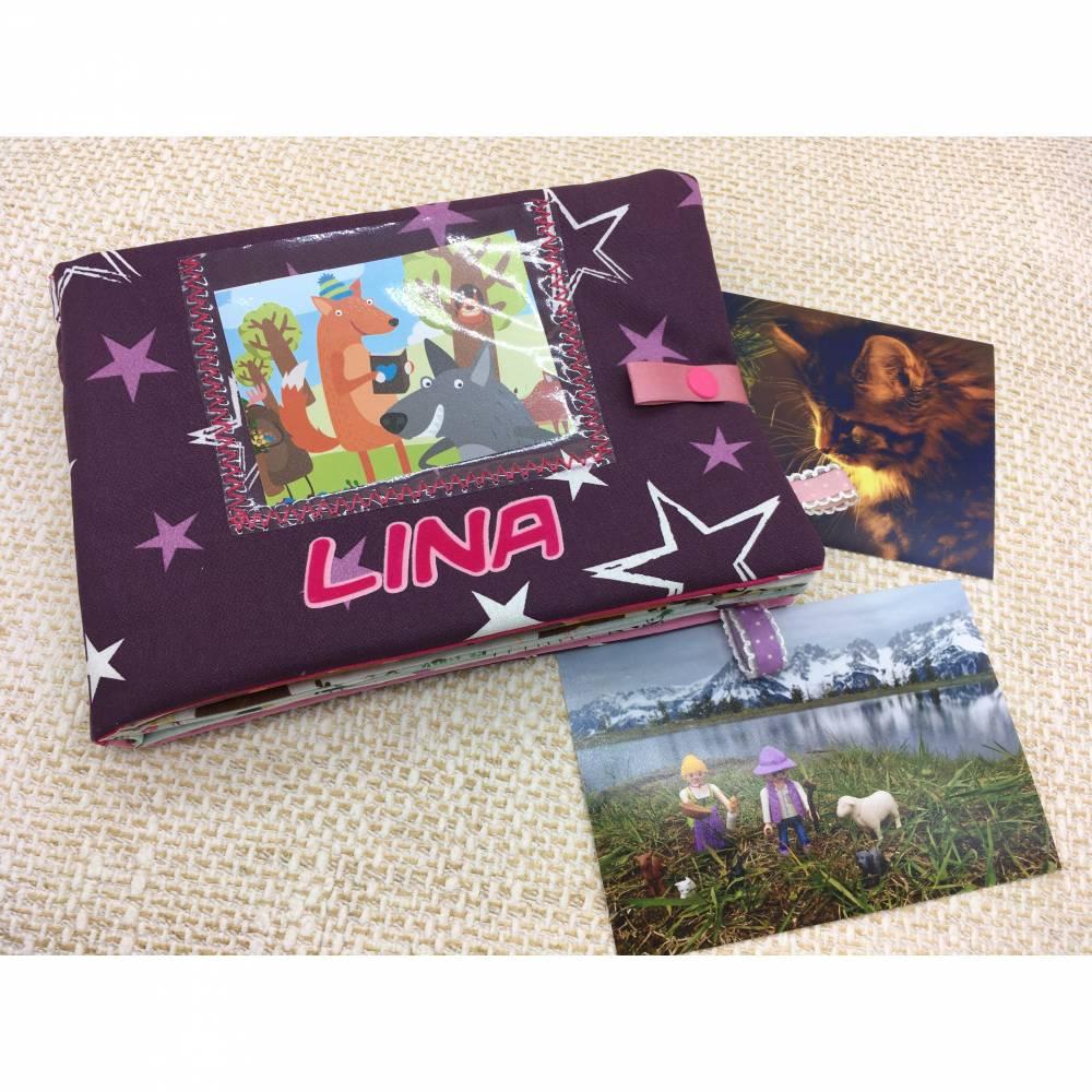 Baby Fotobuch mit Namen, personalisiertes Fotoalbum aus Baumwolle, Babys erstes Bilderalbum Bild 1