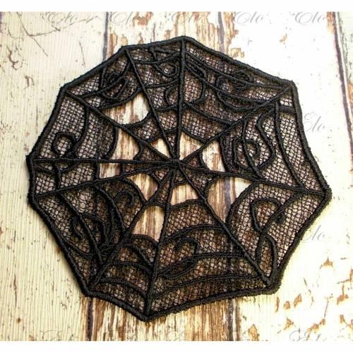 Applikation gestickt Spitze Spinnennetz Gothic Aufnäher