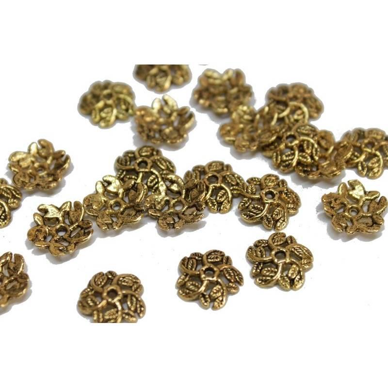 10 Perlenkappen, ca. 10 mm, 5 Blattranken, goldfarben Bild 1