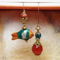 Karneol Lesezeichen Keramik Fisch Bild 1