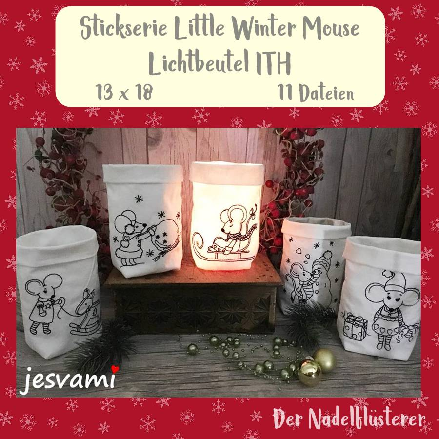 "Digitale Stickserie Little Winter Mouse  Lichtbeutel ITH 13x18 cm (5x7"") Stickrahmen Bild 1"
