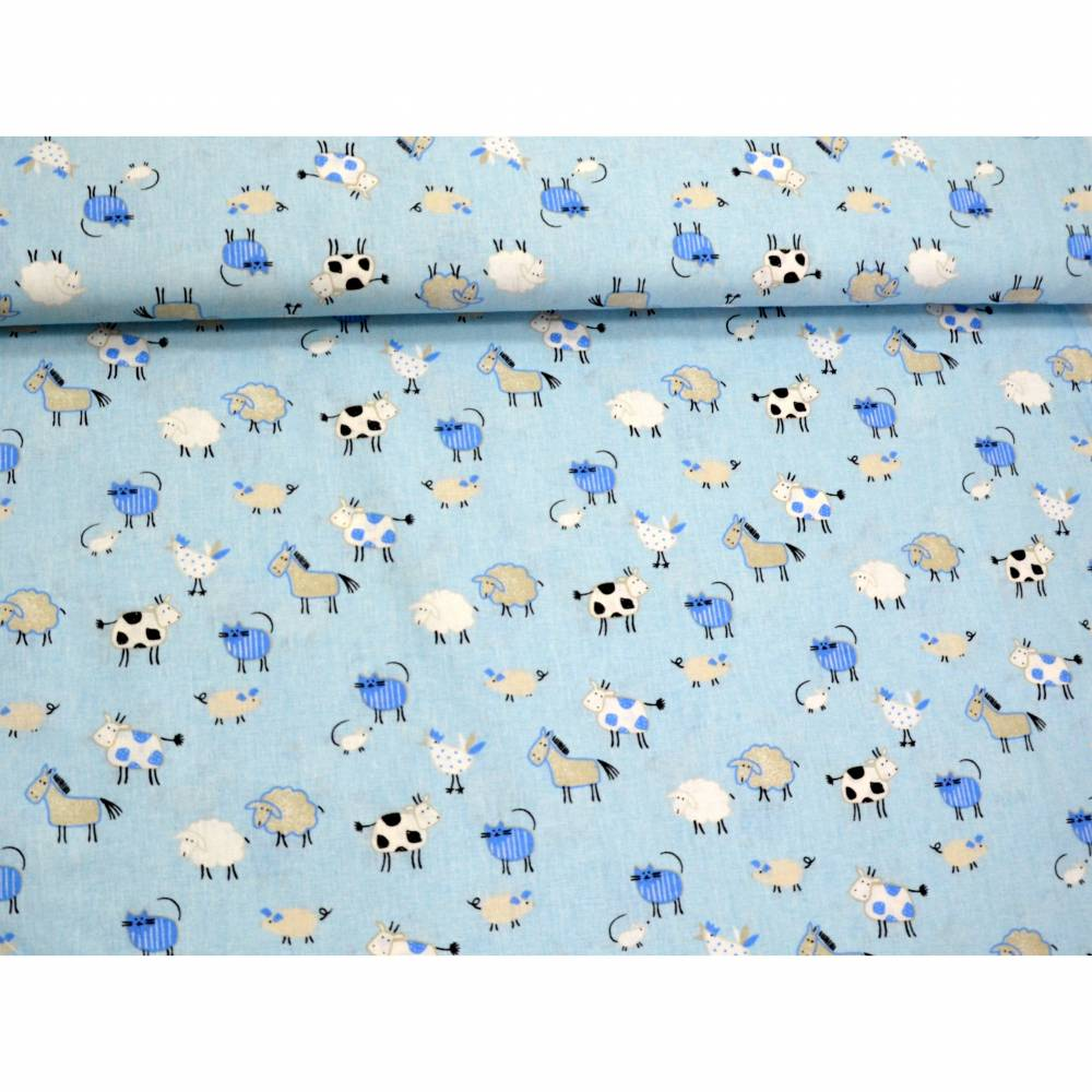 Baumwollstoff Tiere hellblau Bild 1