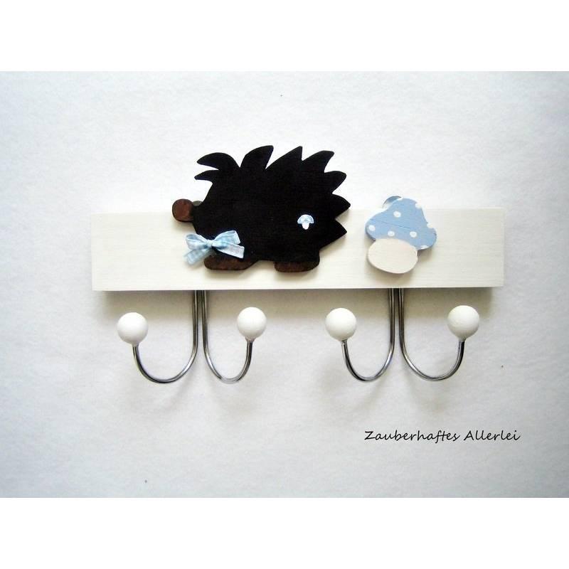 Kindergarderobe Igel klein hellblau Bild 1