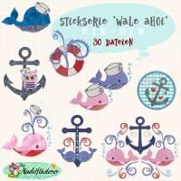 """Digitale Stickserie Wale Ahoi 10x10 - 13x18 cm (4x4 - 5x7"""") Stickrahmen"""