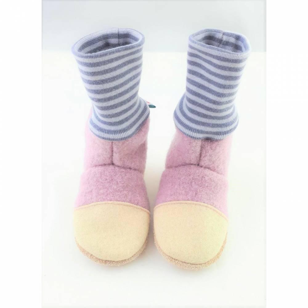Hausschuhe aus Wolle mit hohem Bündchen in zartem rosa Bild 1