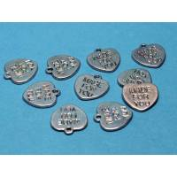 10 Herz Anhänger / Charms *Made for you* Metallanhänger Bild 1