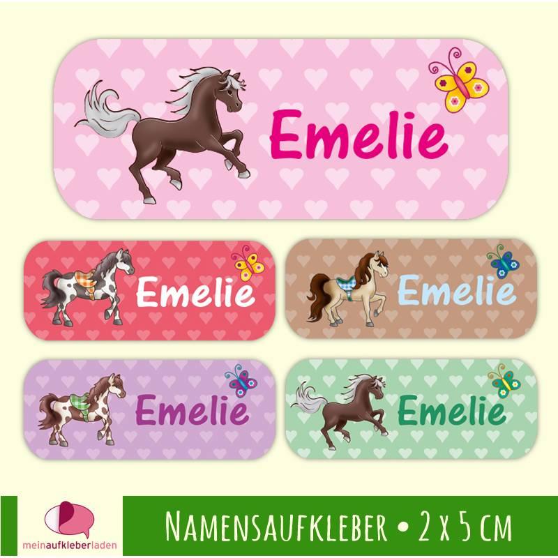 52 Namensaufkleber | Pferd mit Herzchen - 2 x 5 cm Bild 1
