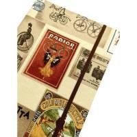 """Notizbuch Tagebuch """"Vintage Bicycles"""" Blanko A5 stoffbezogen Stoff Retro-Style Fahrräder Reklametafel Reklame Poster Geschenk Bild 1"""