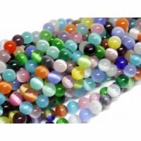 1 Strang Cat Eye Perlen, Cateye 6 mm, bunt gemischt