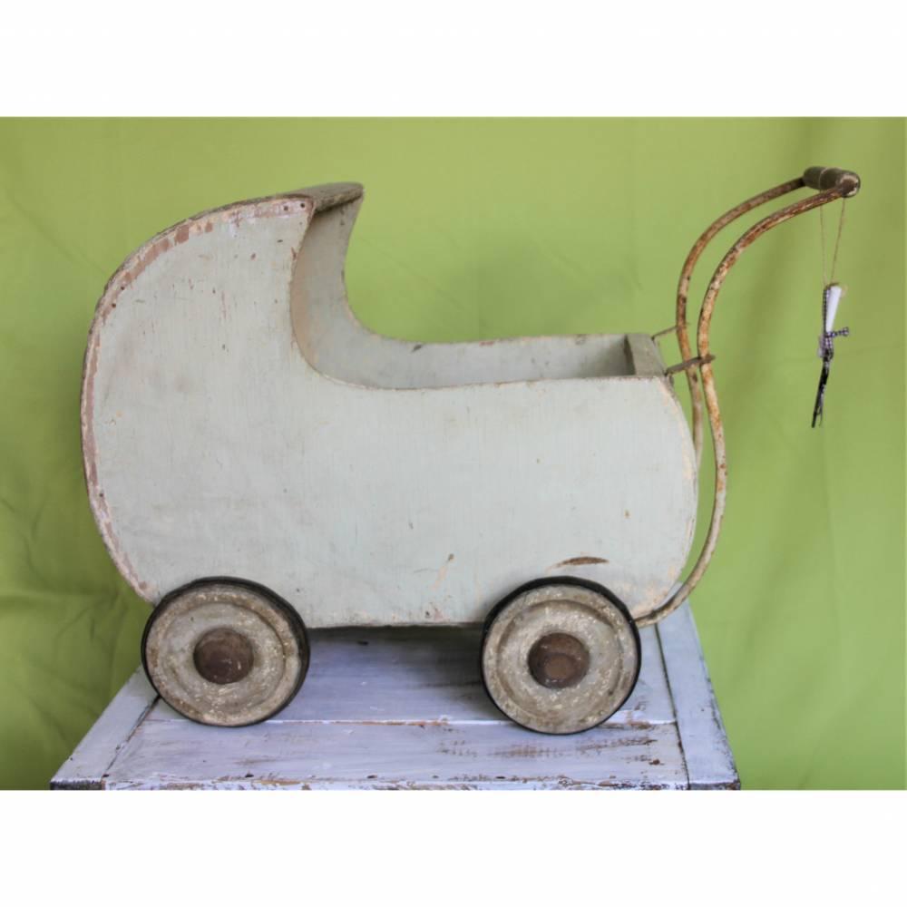 Vintage Puppenwagen aus Holz Shabby-Chic Bild 1