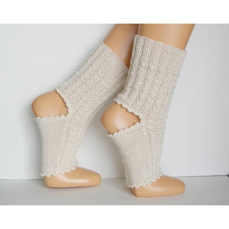 Yoga-Socken Pilates Socken, Fitness-Socken, Kampfsport-Socken Tanz-Socken, Gymnastiksocken, ohne Zehen, Farbe natur, weiß, rot, blau, 36, 37, 38, 39, 40, 41, 42 Bild 1