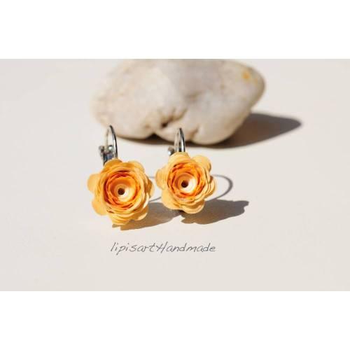 Ohrhänger – Blüte Papier Sand-Orange Brisur altsilberfarben Quilling Ohrringe