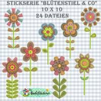 "Digitale Stickserie BlütenSTIEL & Co 10x10 cm (4x4"") Stickrahmen Bild 1"