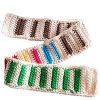 Puppenschal Baumwolle Colorblocking Grundfarbe Weiß Häkelschal Länge: 66 cm Bild 1