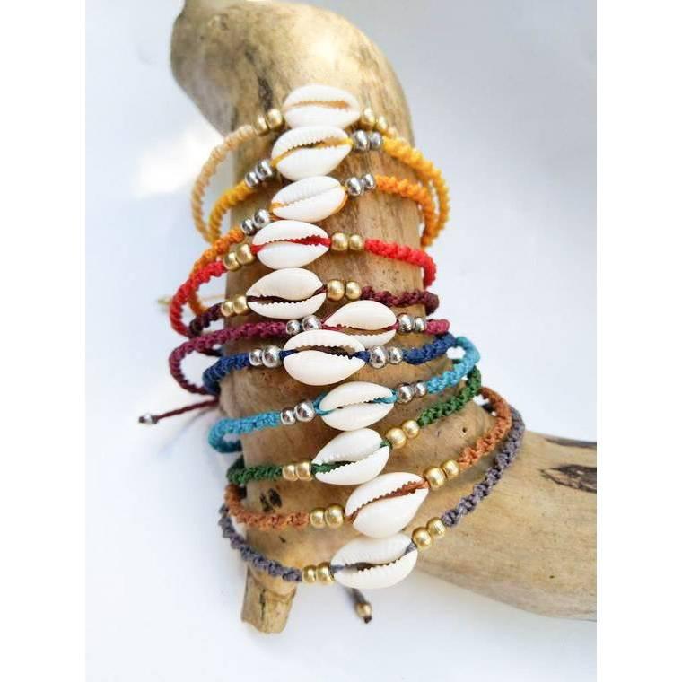 Makramee Fußkettchen mit Kauri Muschel in vielen Farben Bild 1