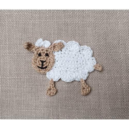 gehäkelte Schaf Applikation, Schaf Häkelapplikation zum aufnähen für Kinder