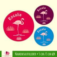 Namensaufkleber rund | Flamingo  Bild 1