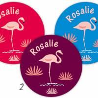 Namensaufkleber rund | Flamingo  Bild 2