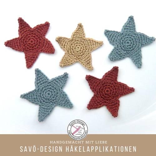 Sterne Häkelapplikation 6,5 cm in Wunschfarbe, gehäkelter Stern ,Applikation zum aufnähen,