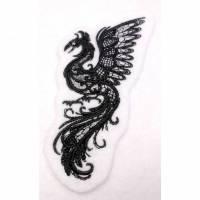 Aufnäher gestickt Dark Creatures Phoenix - dunkle Kreatur Phönix gestickt , Applikation, Patch, Stickapplikation, Bügelbild, Stickerei, Gothic, Sage   Bild 1