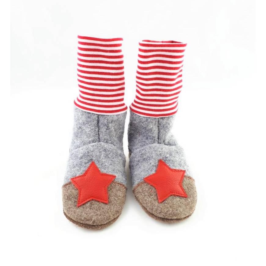 Hausschuhe aus Wolle mit Ledersohle in grau und rot,  Stoppersocken Bild 1